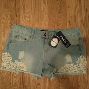 Nwt puella laced jean shorts
